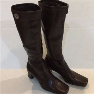"Franco Sarto Knee High Boots Brown 2 1/2"" Heel"